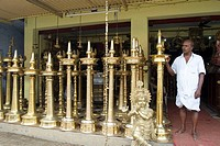 Brass oil lamps shop at Mannar, Kerala, India.