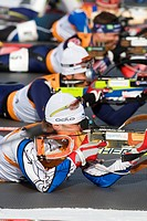 Biathletes shooting rifles, British Columbia, Canada