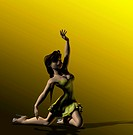 Computer illustration of young woman dancing