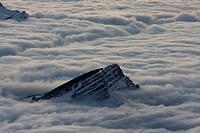 Fog surrounding the peak of Mt Stockberg, Canton of St Gallen, Switzerland, Europe