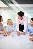 Four colleagues discussing architects plans