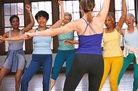Senior women in exercise class