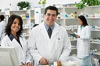 Portrait of pharmacists in pharmacy