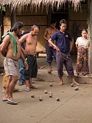 petanque players enjoying themselves in rural Laos