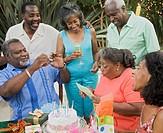 Senior African woman celebrating birthday