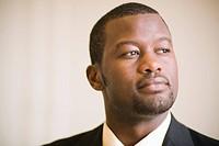African businessman thinking