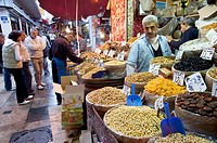 Dried fruits shop  in the Misir Carsisi (Egyptian bazaar). Istanbul. Turkey.