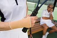 Tennis player wearing wristband