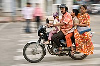 Indian family riding on their motorcycle  Bangalore, India