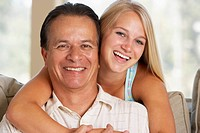 Father And Daughter Together At Home