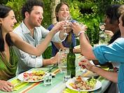 Friends having lunch in the garden
