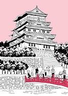 Tourists on bridge by pagoda