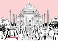 Tourists relaxing by Taj Mahal