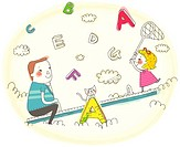 Girl and father sitting on seesaw