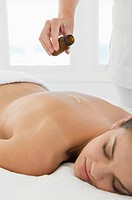 Female with massage oil