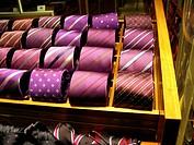 Purple italian ties in a Milán shop.