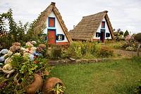 Portugal, Madeira Islands Santana Palheiros: typical straw roof houses