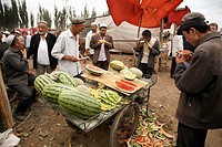 Watermelons at market, Kashgar, Xinjiang, China