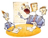 A businessman in a meeting with three headed board member