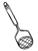 A black and white illustration of a pot masher