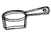 A black and white illustration of a pot