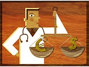 A physician holding a scale with a Dollar sign and a Euro symbol in it