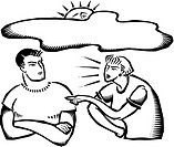 A couple arguing and the sun hiding behind a cloud
