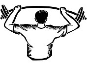 A man lifting weights over his head