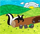A curious skunk scaring a group of hedgehogs