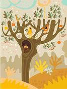 Birds sitting in an apple tree