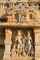 Sculptures carved on a temple, Kumbha Shyam Temple, Chittorgarh, Rajasthan, India