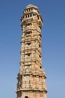 Low angle view of a tower, Vijay Stambha, Chittorgarh Fort, Chittorgarh, Rajasthan, India