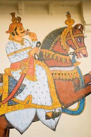 Paintings on the wall of a palace, City Palace, Udaipur, Rajasthan, India