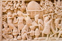 Sculptures on the wall, Great Stupa, Sanchi, Bhopal, Madhya Pradesh, India