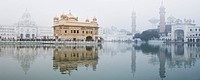 Reflection of a temple in water, Golden Temple, Amritsar, Punjab, India