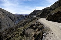 Mountain road in the mountains, Colquechaca, Bolivia