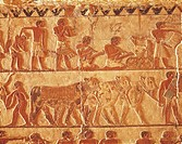 Egypt - Cairo - Ancient Memphis (UNESCO World Heritage List, 1979). Saqqara. Necropolis. Private tomb of Nefer and Ka Hay, 5th Dynasty. Painted relief...