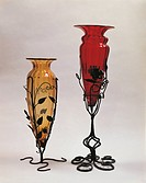 Glassware - Italy - 20th century. Amphora vases. Blown glass. Manufacturer Cappellin, Murano Venice. Iron stands by Umberto Bellotto, 1915-20