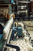 Milk bottles in a dairy factory, Brussels, Belgium