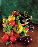 Food. Still life - Italian July fruits and vegetables
