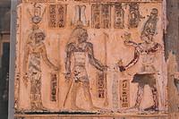 Egypt. Libyan Desert. Al-Dakhilah (Dakhla) Oasis. Al-Dakhilah (Dakhla) Oasis. Dayr al-Haggar. Temple of Amon and Amaunet. Relief of Titus offering to ...