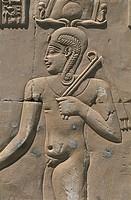 Egypt. Libyan Desert. Al-Dakhilah (Dakhla) Oasis. Dayr al-Haggar. Egyptian temple. Relief