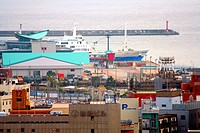 Japan, Kyushu, Kagoshima, city view, harbor, Asia, East_Asia, lake, city, ocean, port, houses, buildings, architecture, harbor_buildings, ships,