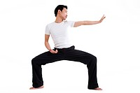 asian man doing martial arts exercises