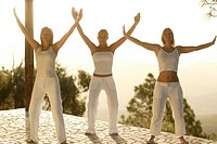 Group, Tai Chi practice, clothing white, outside, morning_mood, full_length