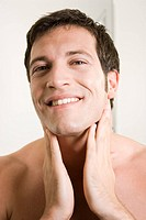 Man, attractively, face, smiling, is cultivated, Aftershave, is too bulky, portrait,