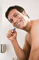 Man, attractively, teeth, cleaning, topless, portrait,