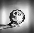 Man holding globe with dollar symbol