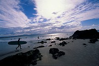 surfers, beach, tranquility,