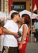 Poland Krakow, couple kisses